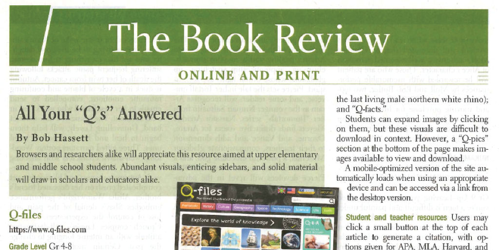 Great review of Q-files in the School Library Journal!