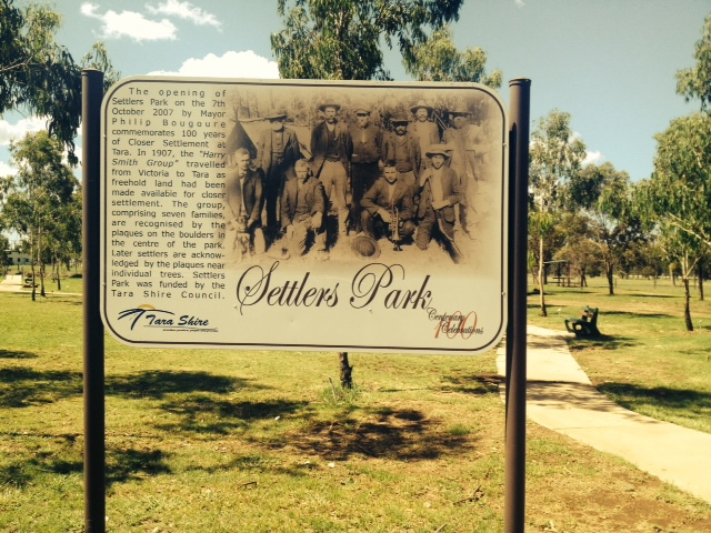 Settlers Park in Tara Qld - Founding Families