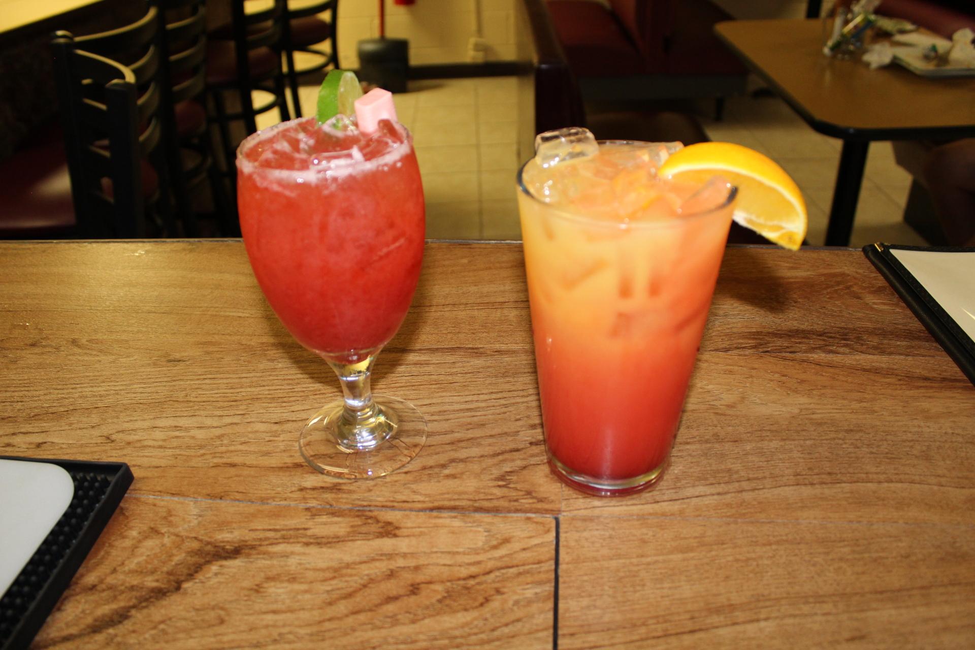 Tequila Sunrise & Strawberry Margarita
