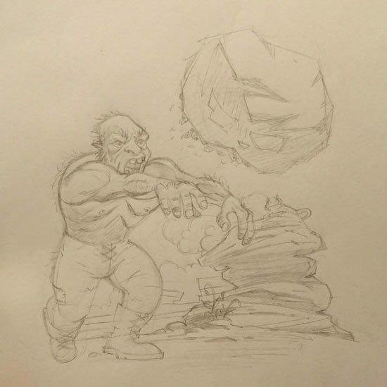Rock Thrower Concept Art Sketch - Jason Fowler