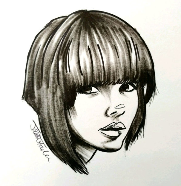 Doodle of a Girl with a Cute Haircut