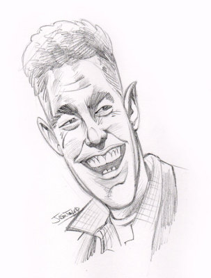 Caricature of Adam Carolla by Jason Fowler