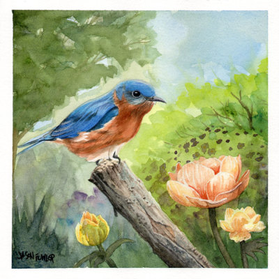 Bird on a Branch Watercolor Painting by Jason Fowler