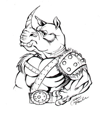 Sketch of a Rhino Man by Jason Fowler