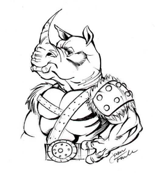Sketch of a Rhino Man by Jason Fowler