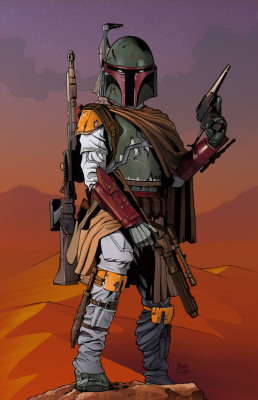 Finished Drawing with Color of Boba Fett by Jason Fowler