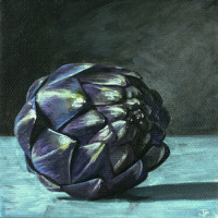 Purple Artichoke Acrylic Painting