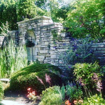 Historic foundation wall that surrounds the sunken garden.