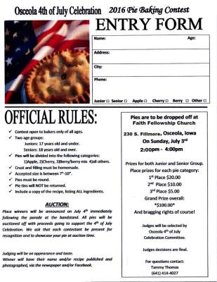 Pie Contest Form
