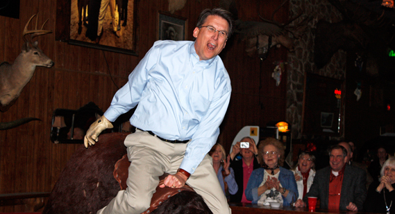 Pat McCrory on a mechanical bull