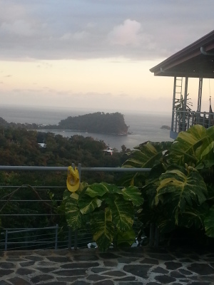 Guesthouse view, sun setting