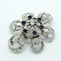 Blue Sapphire and Diamond Brooch