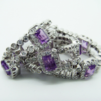 Diamond and Purple Sapphire Bracelet