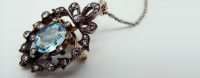 Pendant, Brooch, Aquamarine, Diamond
