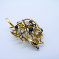 Detailed Diamond & Sapphire Brooch
