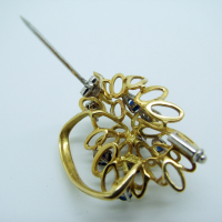 Detailed Diamond & Sapphire Brooch