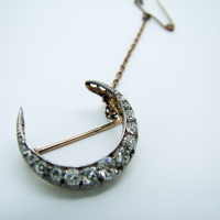 Moon-Shaped Diamond Brooch