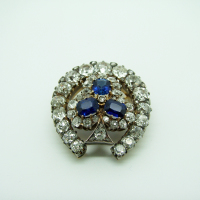 Horseshoe Sapphire and Diamond Brooch