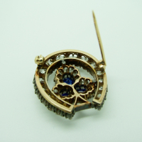 Horseshoe Sapphire and Diamond Brooch