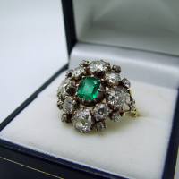 Georgian Basket-Style Emerald & Diamond Ring