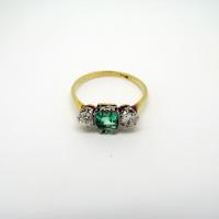 Three-Stone Emerald & Diamond Ring