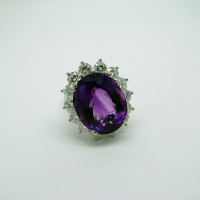 Diamond Surrounded Siberian Amethyst Ring