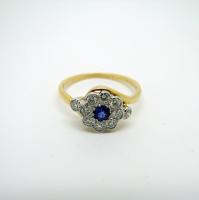 Diamond & Sapphire (Centre) Yellow Gold Ring
