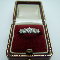 Five-Stone White Gold Antique Ring