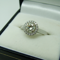 18ct White Gold Single Diamond Surrounded by a Diamond Halo