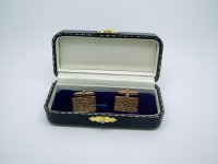 Gold Brush-Effect Rectangular Cufflinks