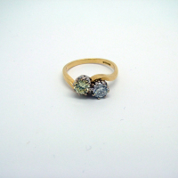 Twisted Yellow Gold White & Yellow Diamond Ring
