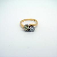 Twisted Yellow Gold White & Yellow Diamond Ring