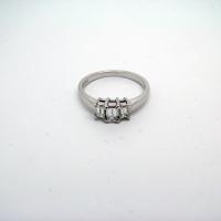 Three-Stone Emerald Cut Diamond Ring