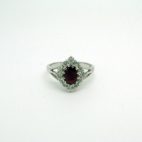 Oval-shaped Ruby & Diamond Ring