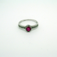 Double Band Ruby & Diamond Ring with Diamond Shoulders