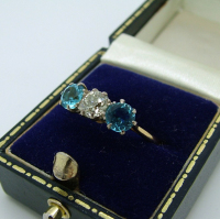 Three-stone Diamond & Aquamarine Ring