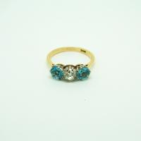 Three-stone Diamond & Aquamarine Ring