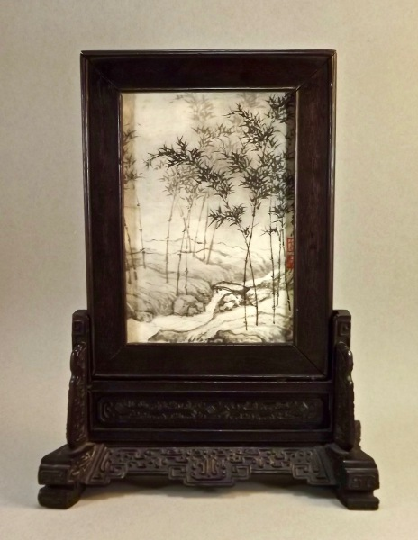 18th century Qing dynasty miniature zitan table screen with painting by Youhe Zeng Acke (born 1925)