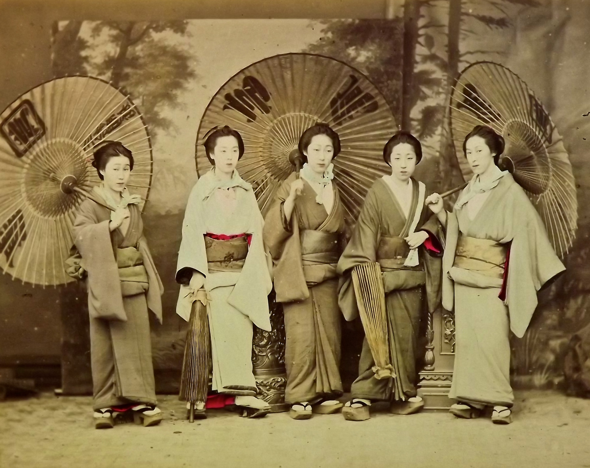 Antique hand-painted Japanese photograph