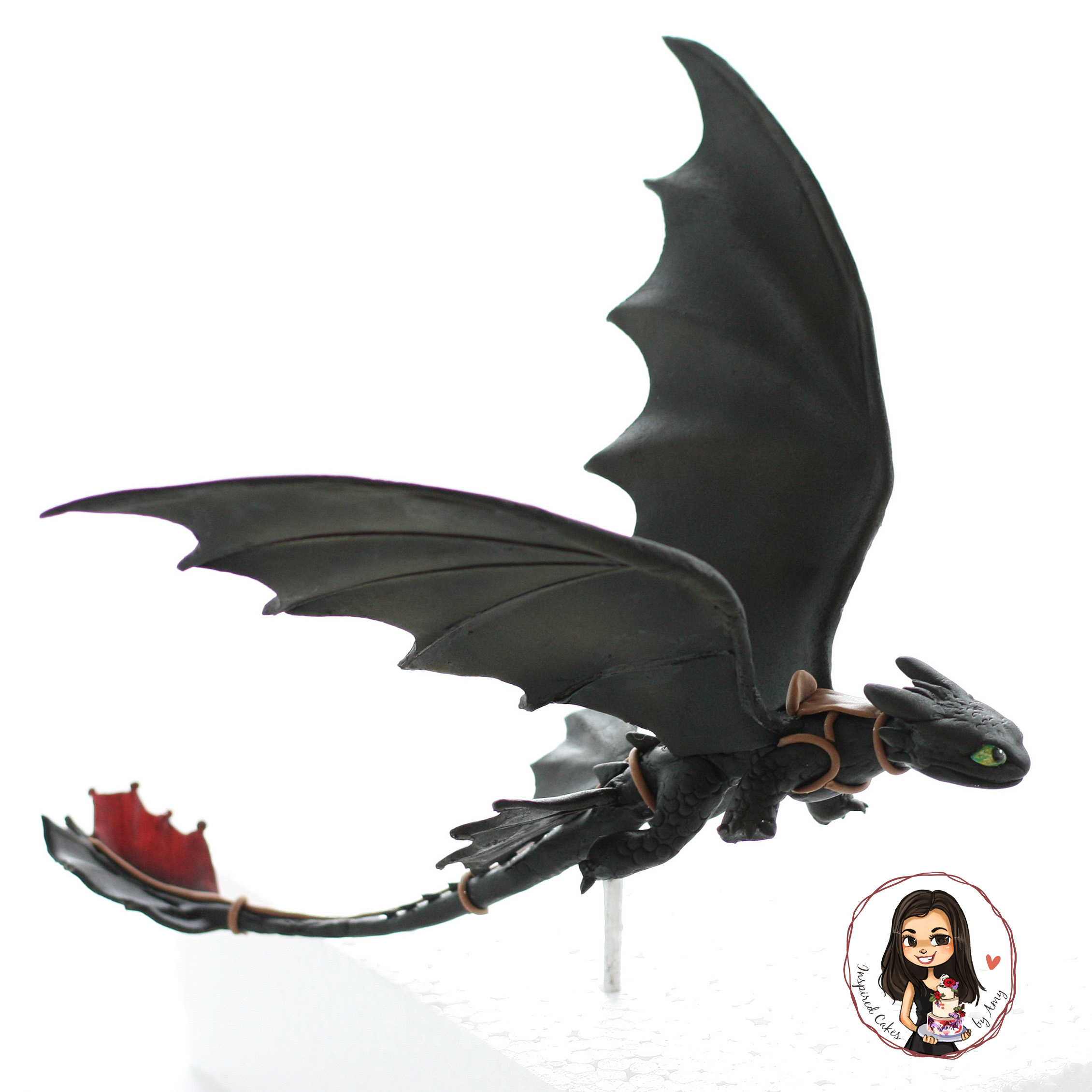 "flying toothless ""how to train your dragon"" fondant cake figurine"