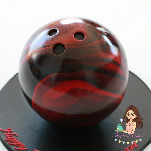 3D gravity defying bowling ball cake