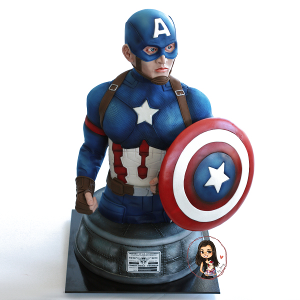 Captain America 3D sculpted bust cake