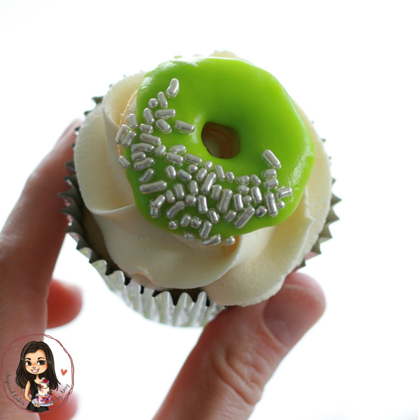Green and silver donut cupcake