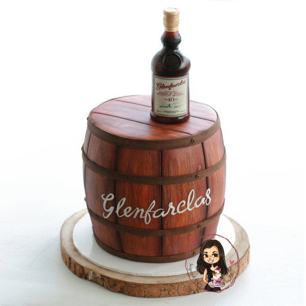 glenfarclass 3d whisky barrel cake