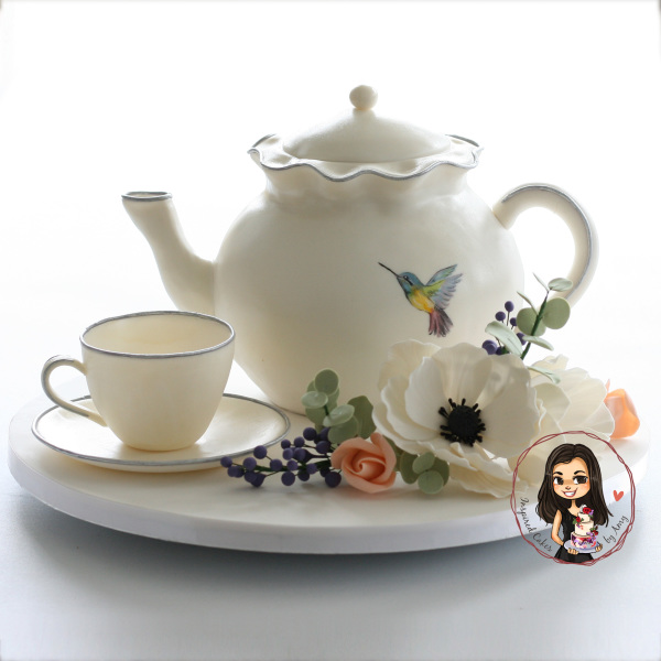3D Teapot cake with edible teacup and saucer and sugar flowers