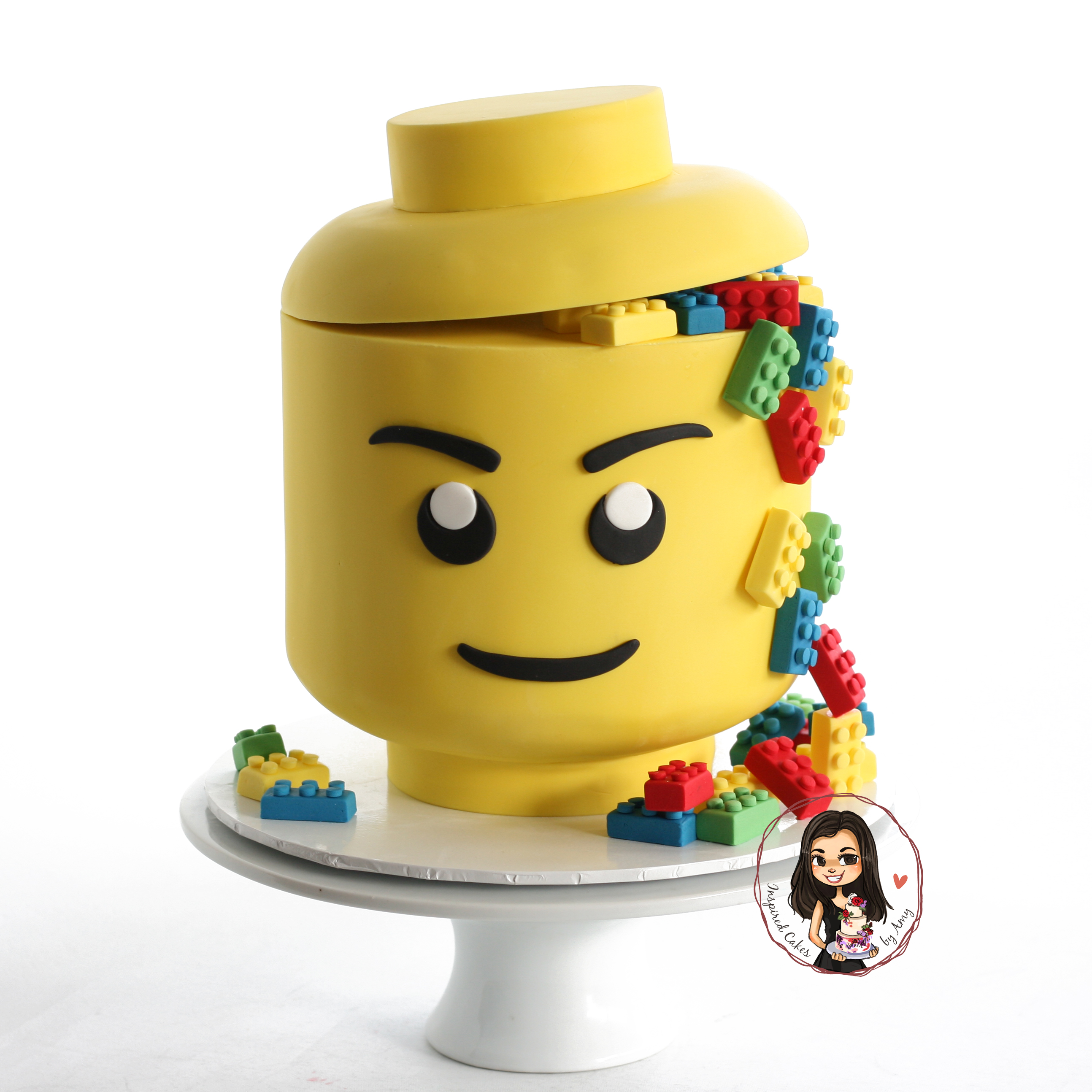 Lego head container cake