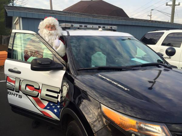 SANTA LOVES RIDING IN THE BERKELEY HEIGHTS POLICE CARS