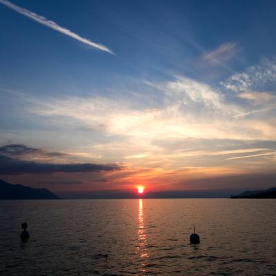 lake, sunset, montreux, switzerland