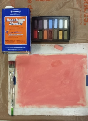 beginning alcohol wash underpainting demo