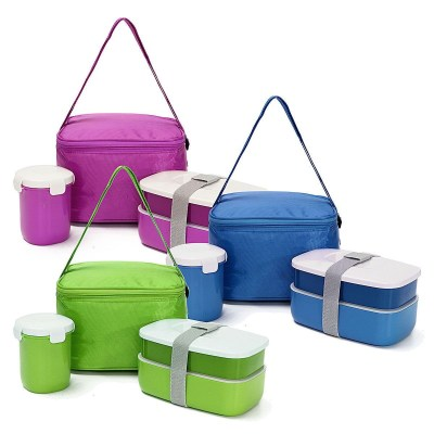 Lunch Box Water Soup Mug Insulated Lunch Tote Bag Set Food Container Japanese Bento Plastic Microwave For Kitchen Picnic
